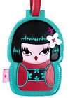 New FLUFF Luggage Bag ID Tag Holder KOKESHI KIMONO DOLL Travel Suitcase RED