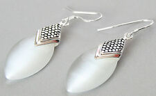 Marcasite 925 STERLING SILVER DROP WHITE OPAL EARRINGS