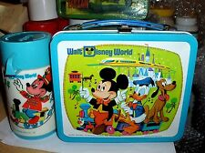 Walt Disney World `1976`Walt Disney Productions`Metal Lunchbox & Thermos-Free US
