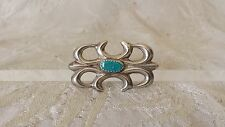 VTG Navajo Sand Cast Sterling Silver Turquoise Native American Pin Brooch Estate