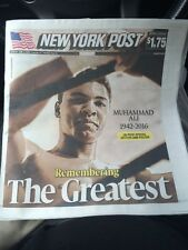 """NY Daily News Muhammad Ali """"The Greatest"""" Dies 6-4-16. Full Paper With Poster"""