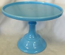 Cake Plate Pastry Tray Bakers Cupcake Stand PlainSimple Robin Egg Blue Glass 10""