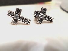 womens/mens small crystal cross engraved blk design stud earrings silver plated