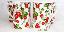 Strawberry Fields Mugs Set of Four Fine Bone China Mugs Hand Decorated in the UK