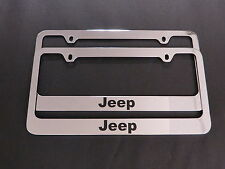 2 JEEP STAINLESS STEEL Chrome License Plate Frame + Screw Caps
