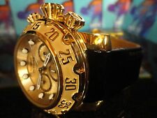 Invicta 22492 Lupah 52mm Gold/Dial Gold/Tone Case Chrono Leather Band Watch NEW!