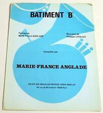 """Partition vintage sheet music MARIE-FRANCE ANGLADE : Bâtiment """"B"""" * 80's"""