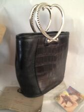 BRIGHTON SMALL CROC LEATHER BUCKET PURSE WITH DOUBLE HEART SILVER TONE HANDLES