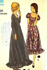 70s Vogue Cress Sewing Pattern 8056 Prairie Dress Boho Retro Size 12
