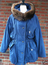 Gil Bret Ladies' Parka Microfiber Winter Coat With Racoon Fur Trimming Size 40