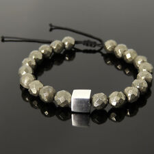 Men's Braided Bracelet 8mm Faceted Gold Pyrite Sterling Silver Cube Bead 1064M