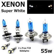 H1 H7 55w SUPER WHITE XENON Upgrade Headlight Bulbs Set Hi Lo Beam V + T10 5SMD
