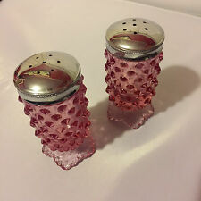 Pink Fenton Salt and Pepper Shakers, Vintage Milk Glass Shakers, Hobnail Fenton