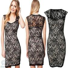 Black Lace Casual Summer Party Dress Sexy Elastic Sleeveless Round Neck Clubwear