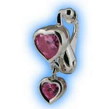Pink Heart Duo Dangly Non Piercing Clip Navel Bar Fake Belly Button Ring Jewelry