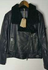 Bnwt Allsaints Bayes shearling leather biker.black.uk 14(14-16). £698