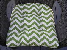 Cushion for Wicker Seat Chair ~ Green and Ivory Chevron Zig Zag ~ Indoor Outdoor