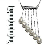 """SEXY+FUN-Pave Bar 5CZ With Chained Pearls Rhodium Plated Necklace 16 to 18"""""""