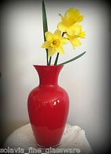Glass Posy Flower Table Vase 31cm High Scarlet Red Contemporary