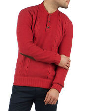 TED BAKER Red TORRES Elbow Patch Cable Knit Henley Sweater ~ Sz 5 Men's XL NWOT