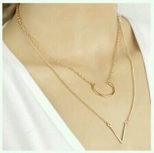 Latest Fashion Double Layer Chain U V Shape Pendant Geometry Triangle Necklace