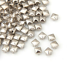 100 X Silver 6mm Leathercraft DIY Pyramid Studs Spots Spikes Rivets Punk Lots