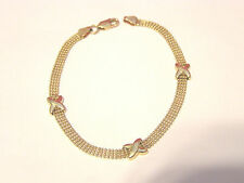 "14K YELLOW GOLD BRACELET w/ ""X"" ACCENTS 7""x6x2mm--LOBSTER CLASP--3.45 GRAMS"