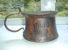 ANTIQUE HAND-HAMMERED EARLY FRENCH COPPER TIN LINED POT DOVETAILED PATINA