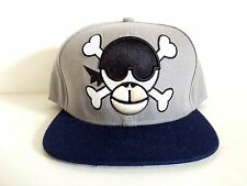 Monkey Skull Two Tone Grey/Blue Embroidered Snapback Cap