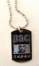 2pac Tupac Shakur Dog Tag Pendant Silver Plated Necklace dogtag charm hip rapper