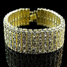 New Mens Womens 14k Yellow  Gold Finish 4 Row Lab Diamond Tennis Bracelet Canary