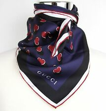 New Gucci Navy Red Heartbeat Print Silk Scarf 340125 4174