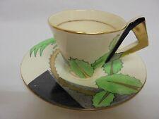 VINTAGE ART DECO SOHO POTTERY AMBASSADOR WARE PALM COFFEE CUP SAUCER PYRAMID