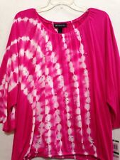 Women INC Tie-Waist 3/4 Sleeves Tie-Dye Embellished Top Sz L