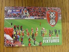 2014/2015 Rotherham United: Official Fixtures Card, Fold Out Style, 6 Pages. Tha