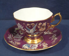 Royal Albert China Oriental Chinoiserie Purple Crane Horse Pagoda Tea Cup Saucer