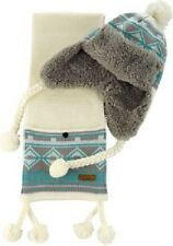 O'Neill Women's White Crazy Teddy Beanie and Scarf Gift Set.