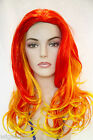 Red tip-Yellow Fun Color Long Skin Top Straight Costume Fun Color Wigs