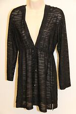 NWT J.Valdi Swimsuit Bikini Cover up Dress Size L Black Hooded