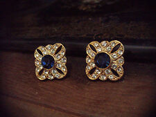 Vintage Clear & Montana Blue Crystal Gold Pierced Earrings