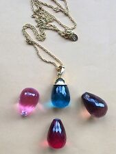"""Joan Rivers Gold Tone 30"""" Necklace 4 Color Changeable Crystals Pendant"""