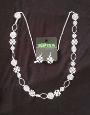 New Set Necklace + Earrings Silver Vintage TOPTEN
