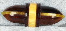 Vintage Bakelite Brooch Pin - 4 Color Laminated Art Deco Geometric Design Amber