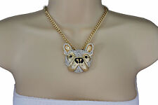 New Women Gold Necklace Metal Chain Dog Pug Face Bulldog Pendant Fashion Jewelry