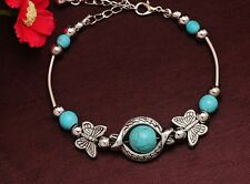 Boho Vintage Style Butterfly Tibetan Silver & Turquoise Bead Charm Bracelet Gift