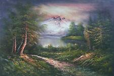 Dipinto Olio su Tela - 100x150 - Paesaggio di Montagna - Quadro Campagna Fiume