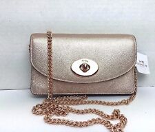 NWT COACH 53394 Clutch Wallet with Chain ROSE GOLD Crossbody Metallic Leather