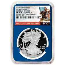 2016-W Proof $1 American Silver Eagle NGC PF70UC First Day of Issue Blue Core Re