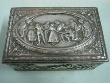 Antique big box in metal with woman and children and old dances scenes nude