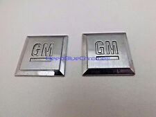 GM Mark Chrome Square Emblems x2 Pair Badges GMC Chevy Sierra Tahoe Silverado